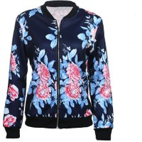 New Bomber Jacket Print Flowers Women Blue Souvenir Jacket Coat Casual Baseball Jacket Sukajan Zipper chaquetas mujer