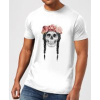 Skull And Flowers Men's T-Shirt - White - 4XL - White